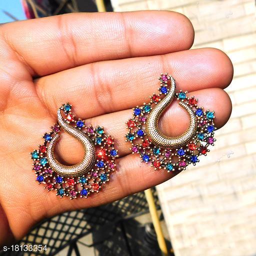 multicolor stone studs peacock design