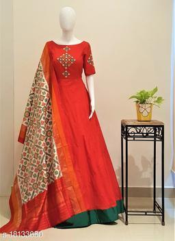 Designer Wear Foil Mirror Work Tafeta Silk Readymade Gown