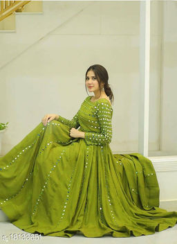 Stunning Foil Mirror Work Lime Green  Floor Length Long Gown
