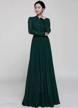 Marvelous Dark Green Faux Chiffon Floor Length Long Gown