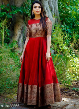 Pleasance Tomato Red Colored Festive Wear Weaving Jacquard Silk Gown