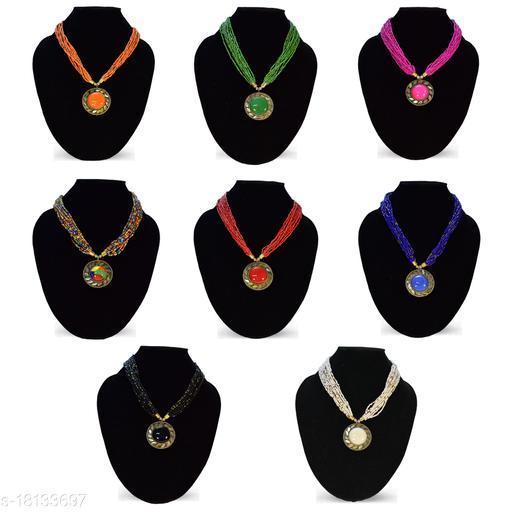 Stylish Women's and Girl's 8 Pcs Set Combo Beads Brass Necklace