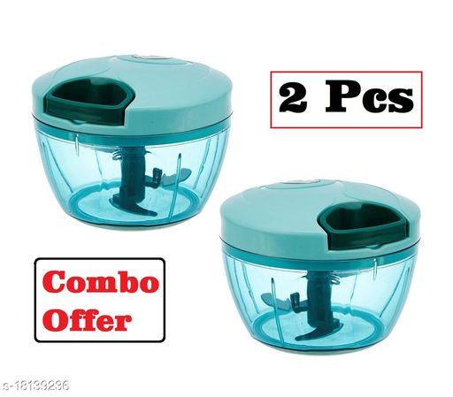 Frekich Combo Of Green (550 ml + 550 ml) Vegetable And Fruit Chopper | Vegetable Cutter| Chilly Cutter | Tomato Cutter With 5 Stainless Steel Blade (Pack Of 2)