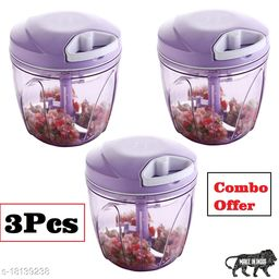 Frekich Combo XL 900ml Handy Quick Chopper Vegetable Fruit Nut Onion Cutter for Kitchen - Made in India (Purple)(900 ml - Set of 3)