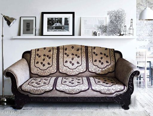 Agee Home Decor Velvet Sofa Cover for 5 Seaters, 500 Tc, Heavy Velvet 10 Pieces Set Without Arms (Coffee Cream). (L-69, W-23, H-28)