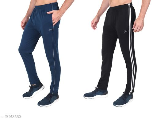 Zeffit Men's Polyster Cotton Track Pants Combo Of Two - Air Force & Black