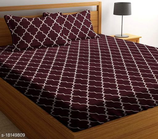 Glace Cotton Printed Double Bedsheet with 2 Pillow Covers
