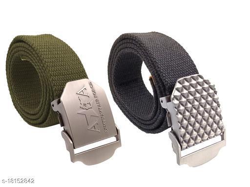 Zapt Canvas Belt Combo For men 100% Cotton Material_(Green::Grey)