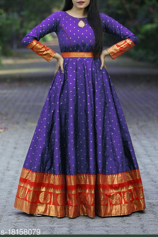 Energetic Blue Colored Festive Wear Woven Tapetta Silk Gown