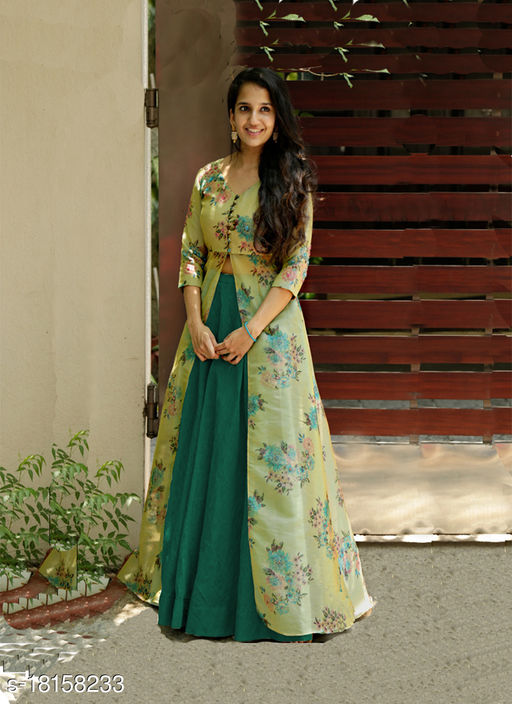 Cute Designer Wear Indo-Western Style Skirt And Floral Printed Tissue Silk Outfit