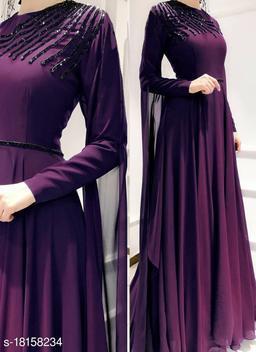 Designer Pure Handwork Faux Georgette Floor Length 10 Meter Flared Gown