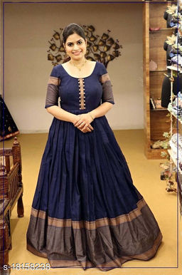 Demanding Navy Blue Colored Party Wear Woven Pure Cotton Gown