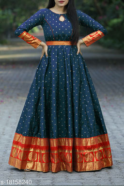 Designer Navy Blue Colored Festive Wear Woven Tapetta Silk Gown