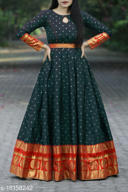 Flattering Black Colored Festive Wear Woven Tapetta Silk Gown