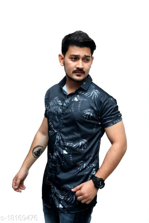 Heer Trendz 2 Way Stratcheble Lycra Printed Ready Made Men's Shirts Black Color