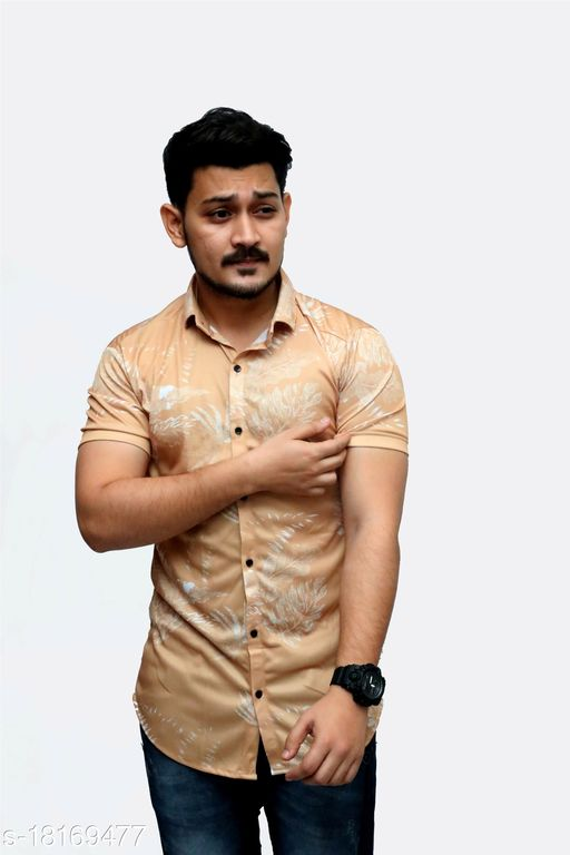 Heer Trendz 2 Way Stratcheble Lycra Printed Ready Made Men's Shirts Gold Color