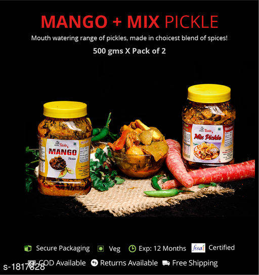 Pickles and Dips Combo of Mixed and Mango Pickle, 500g each  Pickles with authentic preparation from high-quality ingredients  *Sizes Available* Free Size *    Catalog Name: Delicious Range of Pickles CatalogID_239052 C93-SC1352 Code: 473-1817828-894