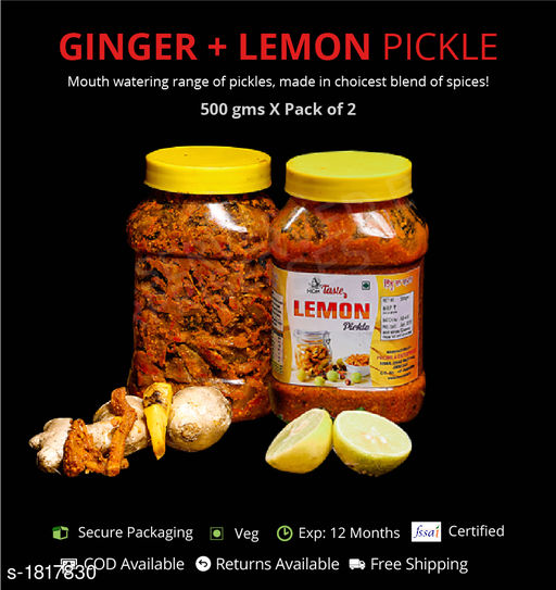 Pickles and Dips Combo of Ginger and Lemon Pickle, 500g each  Pickles with authentic preparation from high-quality ingredients  *Sizes Available* Free Size *    Catalog Name: Delicious Range of Pickles CatalogID_239052 C93-SC1352 Code: 473-1817830-894