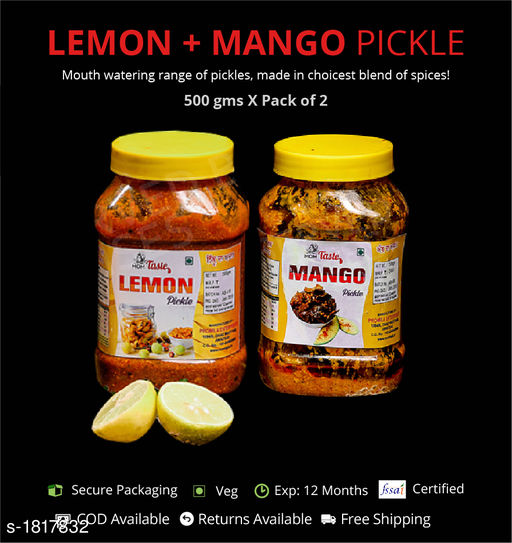 Pickles and Dips Combo of lemon and Mango Pickle, 500g each  Pickles with authentic preparation from high-quality ingredients  *Sizes Available* Free Size *    Catalog Name: Delicious Range of Pickles CatalogID_239052 C93-SC1352 Code: 473-1817832-894