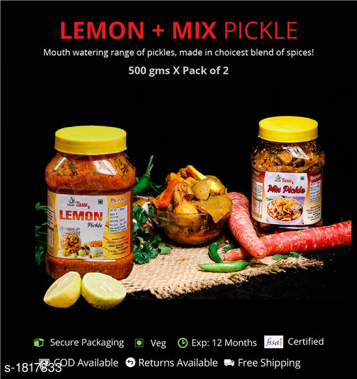 Pickles and Dips Combo of Mixed and Lemon Pickle, 500g each  Pickles with authentic preparation from high-quality ingredients  *Sizes Available* Free Size *    Catalog Name: Delicious Range of Pickles CatalogID_239052 C93-SC1352 Code: 473-1817833-894