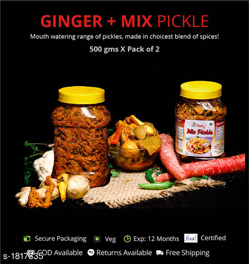 Pickles and Dips Combo of Mixed and Ginger Pickle, 500g Each  Pickles with authentic preparation from high-quality ingredients  *Sizes Available* Free Size *    Catalog Name: Delicious Range of Pickles CatalogID_239052 C93-SC1352 Code: 473-1817835-894