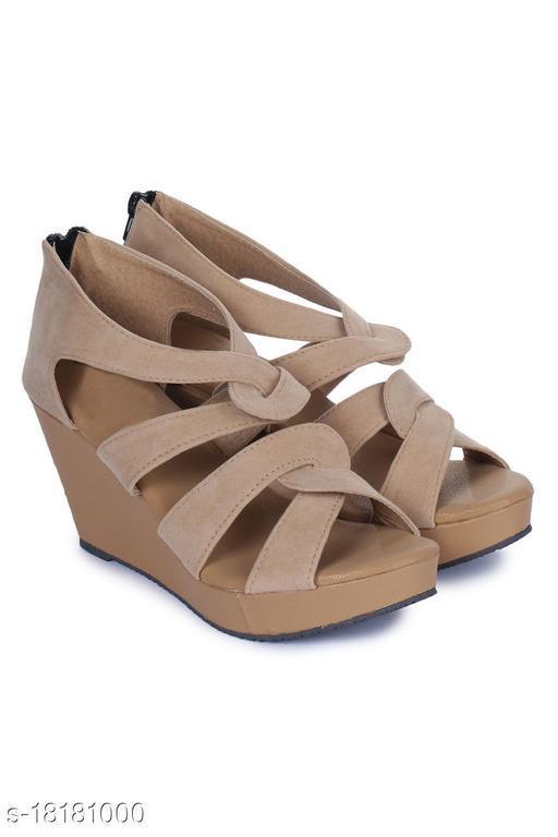 Attractive Women's PU Beige Heels