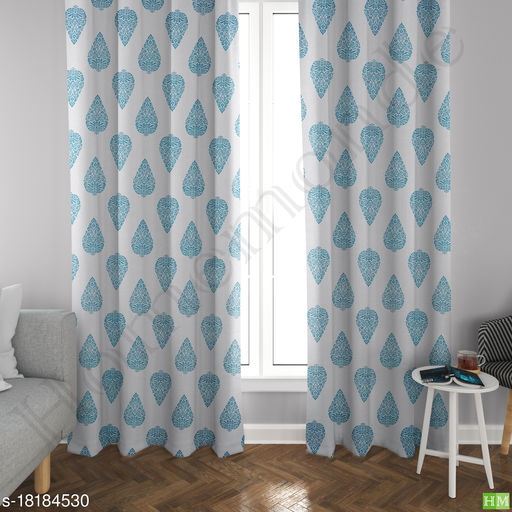 HOMEMONDE Hand Block Leaf Print Cotton Curtains Set of 2,  Grommet Curtain for Home Decor, Hangs Elegantly with Eyelets - Aqua