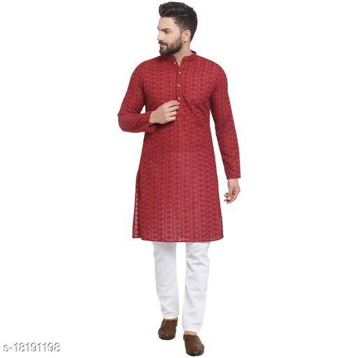 Maroon Kurta and Pajama for men | Cotton Chikankari Lucknowi Jaal Embroidered Full Sleeve Kurta and Aligarh Pajama Set for Men