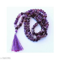 Mala - Amethyst 34 inch String 108 Beads Size - 8 mm Natural Healing crystal Stone