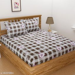 Fitted bedsheet with elastic Hub Super cotton Double Bedsheet with two Pillow covers
