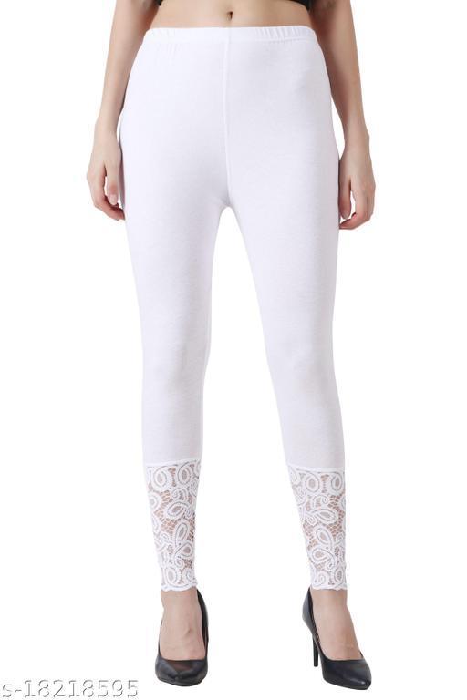 Women's Cotton Spandex Legging Lace Inset at Bottom Hem
