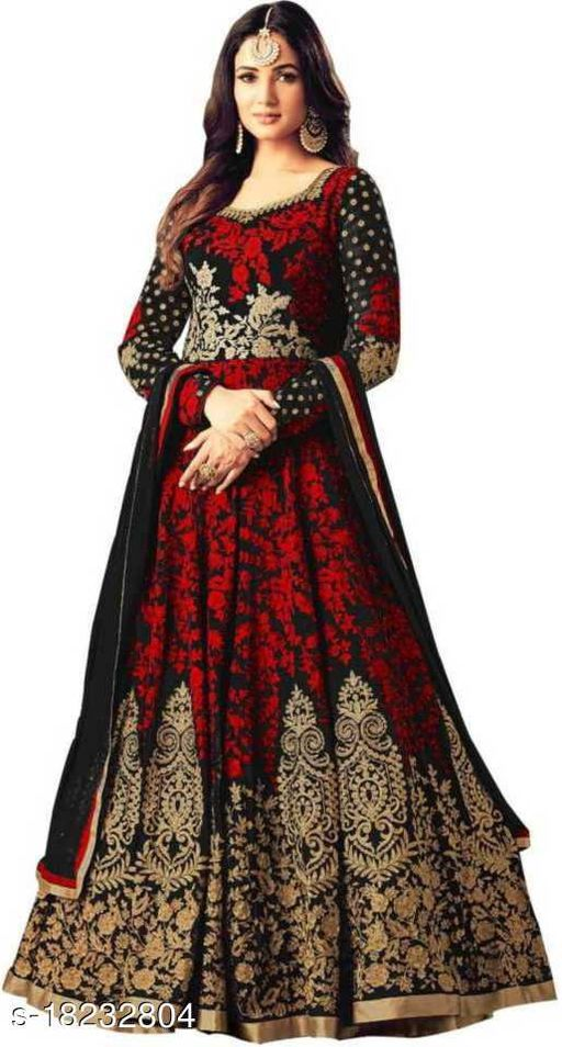 RJ FEBRIC Embroidered Art Silk Semi Stitched Gown (Red)