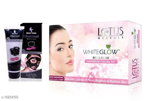 Lotus Herbals Radiant Diamond Facial Kit Big With Face Tech Charcoal Peel Of Mask 130gm