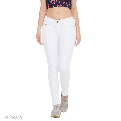 Texco Women White Slim Fit Low-Rise Clean Look Stretchable Jeans