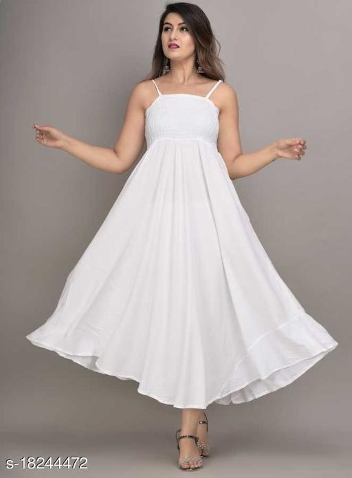 Fancify White Rayon A-Line Bobbin Maxi Dress for Women