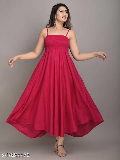 Fancify Pink Rayon A-Line Bobbin Maxi Dress for Women