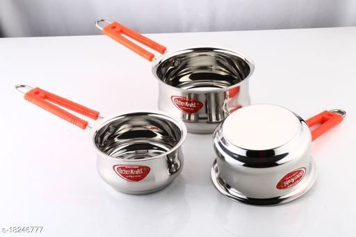 Kitchen Krafts 3pcs Belly  Saucepan with handle (16,18,20cm)