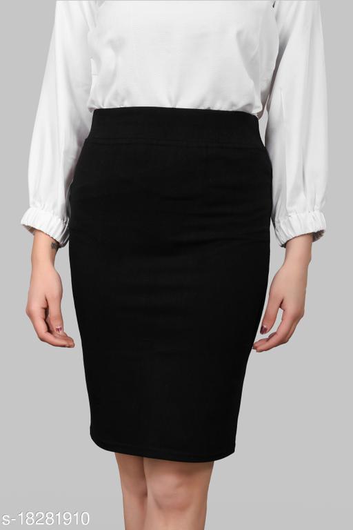 Trendy Women Pencil Black Skirt