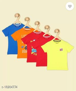 Boys Printed Pure Cotton T Shirt  (Multicolor, Pack of 4)