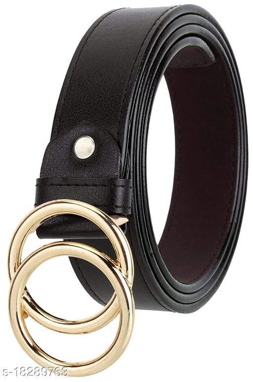Stylish  Women's Black Leather Belt