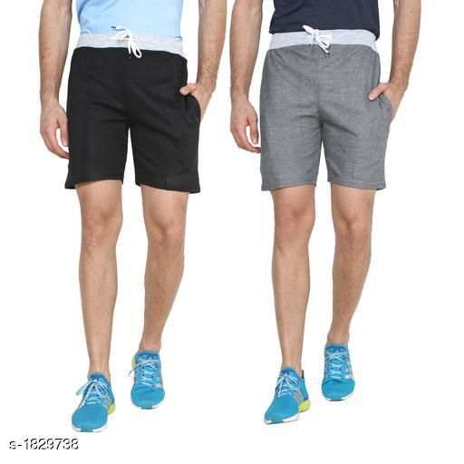 Men's Comfy Casual Cotton Blend Solid Shorts (Pack Of 2)