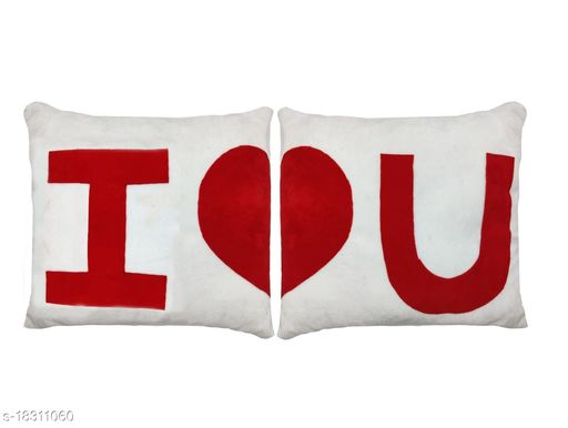 Nitsha Soft Microfiber Romantic Love Valentines Day cushions pillows Pack of 2   (32 x 32 cm)