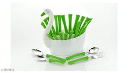 Arshil Duck Shaped Spoon Set For Dining Table Green
