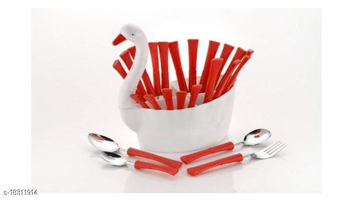 Arshil Duck Shaped Spoon Set For Dining Table Red