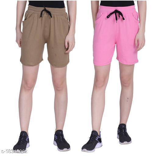 Designer adorable Solid Women Shorts Pack of 2
