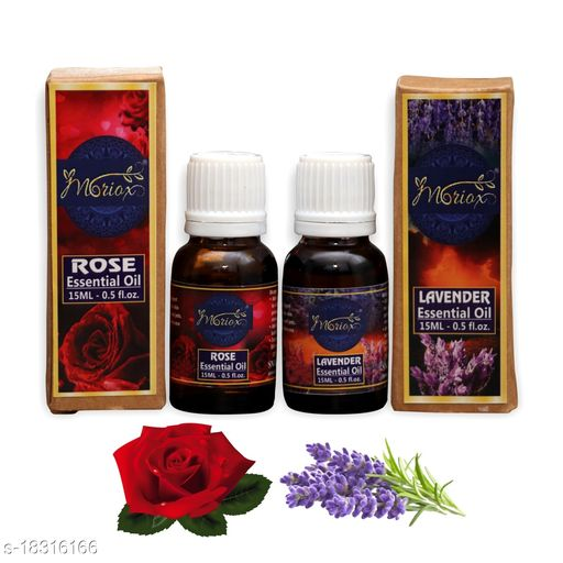 Rose & Lavender Essential oils Pack of 2 for Hair,Skin & Aromatherapy  100% Pure & Natural Oils (15ml)