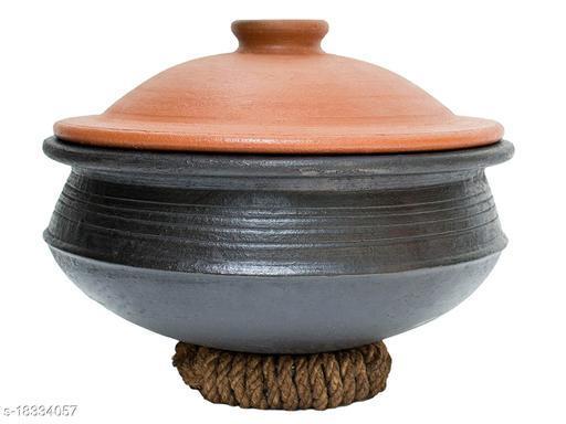 Craftsman India online Clay Pottery Pre-Seasoned Earthen Handi/Biriyani Pot (2 L, Black)
