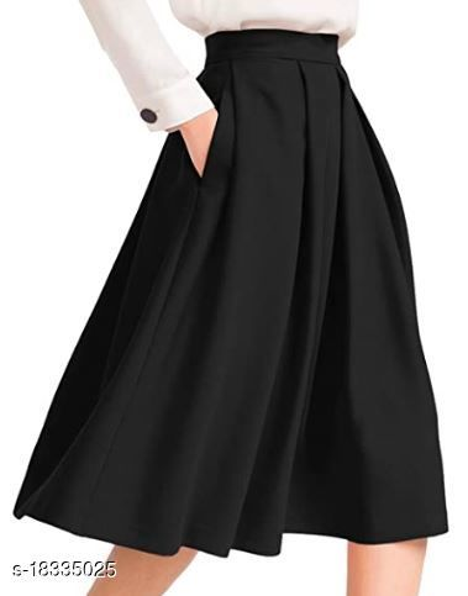Tanvi Creations Women's High Waist Rayon Skirt Pleated Midi Skirt with Pocket