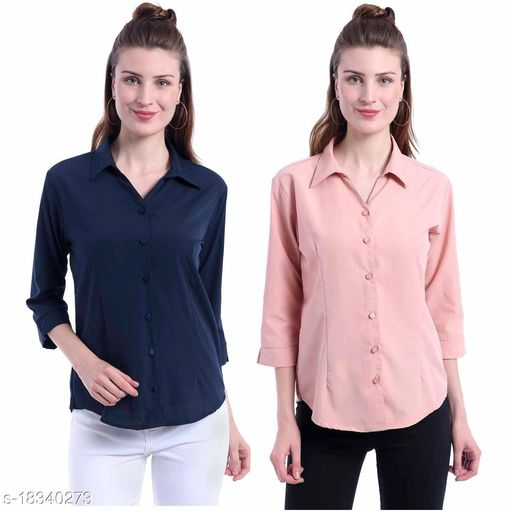 Giggles Creations Regular and Formal Shirt Navy Blueand Peach Pack of 2
