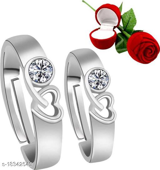 Valentine's Day Gift Hamper of Couple Ring with Red Rose Gift Box for Boyfriend/Girlfriend/Gift for Valentine/Gift for Him
